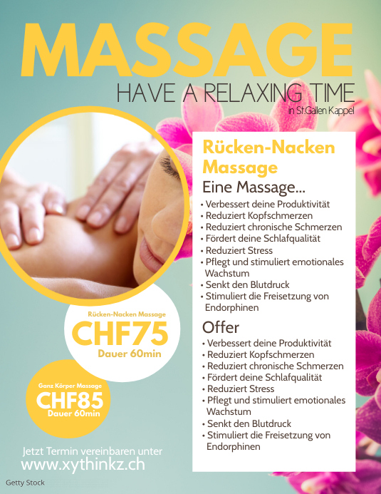 Massage Flyer Offer Promotion Beauty and Spa