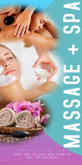 Massage + Spa Colorful Roll Up Banner Spanduk Gulir Atas 3' × 6' template