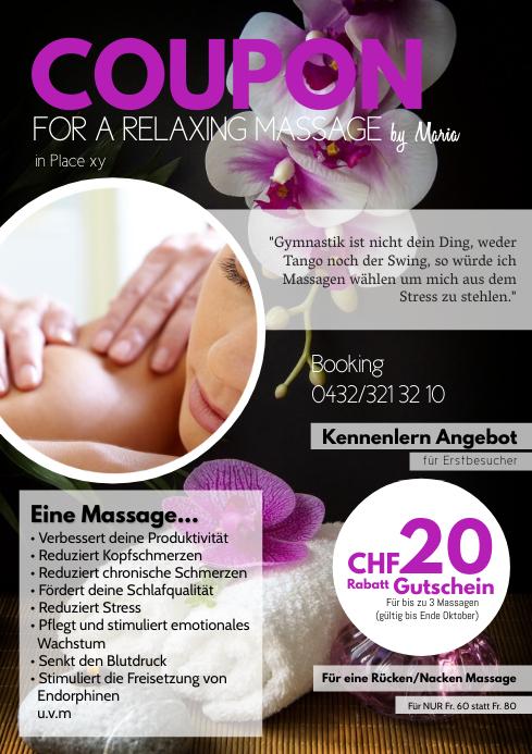 Massage Special Offer Coupon Vaucher Deal Ad A4 template