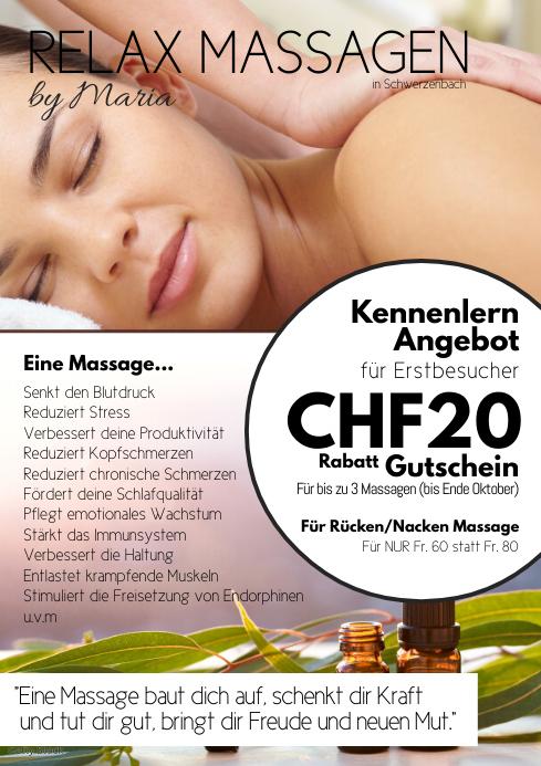 Massage special offer vaucher coupon discount