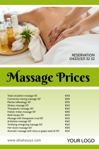 Massage Studio Price List offer treatments ad Poster template