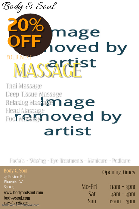 Massage Therapy Template Postermywall