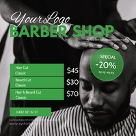 Barber Shop Store Hair dresser green template Cuadrado (1:1)