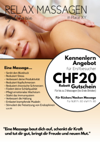 Massage Treatement Offer Special Therapy Ad A4 template