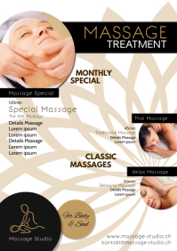 Massage Treatment Therapy Beauty Studio Ad A4 template