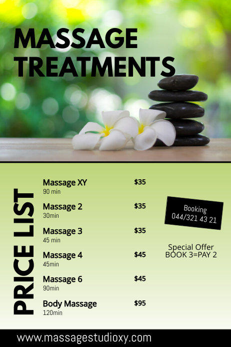 Massage Treatments Therapy Price List spa ad