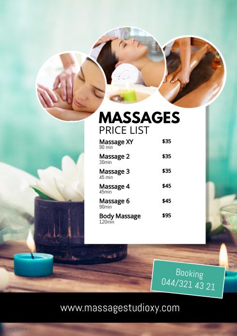 Massages Price List Spa Treatment Studio Ad A4 template