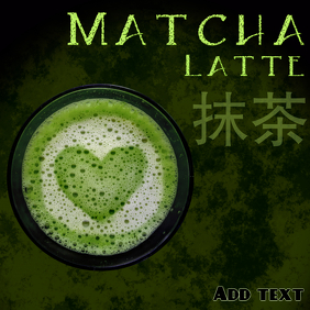 Matcha latte template in dark green and black