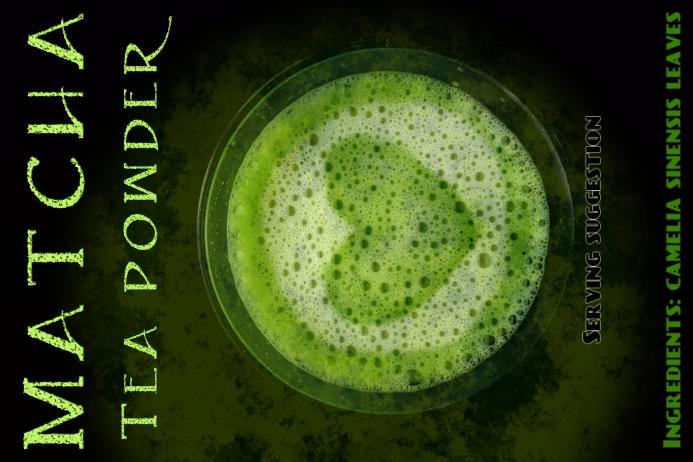 Matcha tea powder customizable label template