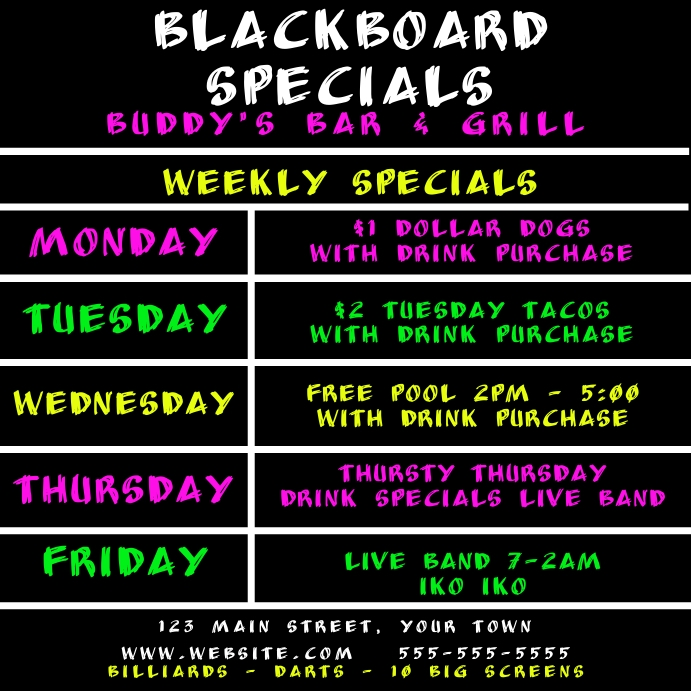Matching Blackboard Daily Specials Instagram template