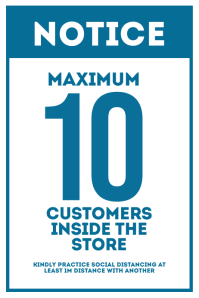 Maximum 10 Customers Inside the Store Sign Poster template
