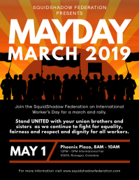 May Day March Rally Flyer Design Pamflet (VSA Brief) template