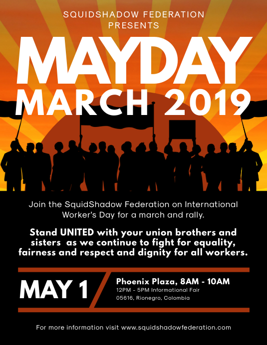 May Day March Rally Flyer Design