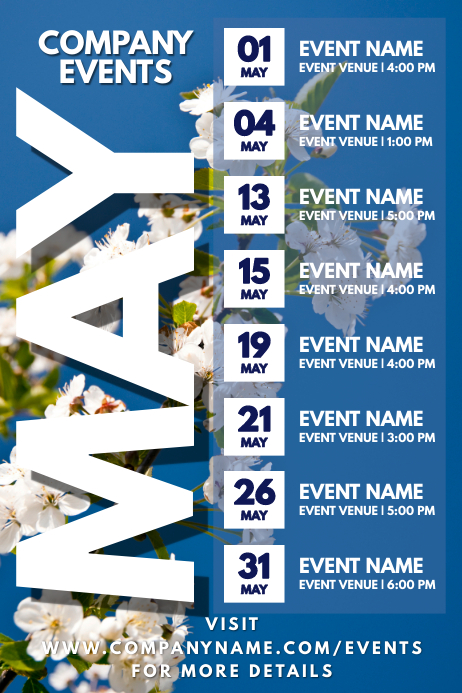 May Events Schedule Calendar Template Poster