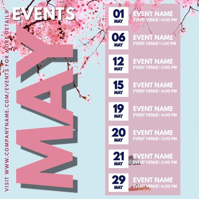 May Events Schedule Video Calendar Template Persegi (1:1)