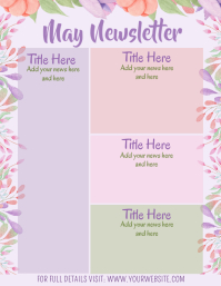 May Newsletter Watercolor Floral Calendar Volante (Carta US) template