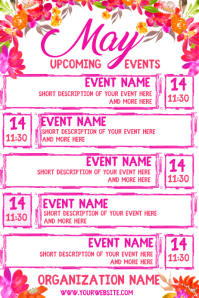 May Upcoming Events Calendar Плакат template