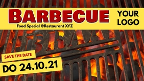 Meat Barbecue BBQ Event Party Bar Banner Pig วิดีโอหน้าปก Facebook (16:9) template
