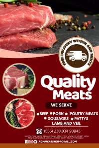 Meat flyer Poster template