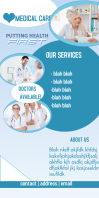 Medical care flyer/roll up banner Cartel enrollable de 3 × 6 pulg. template