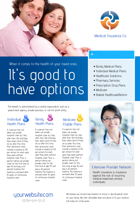 Medical Insurance Flyer Плакат template