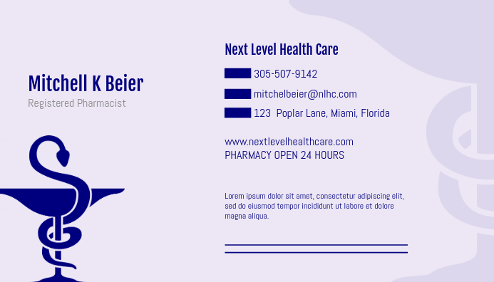 Business Card Template For Doctors | Medical Professional Doctor Business Card Template Postermywall