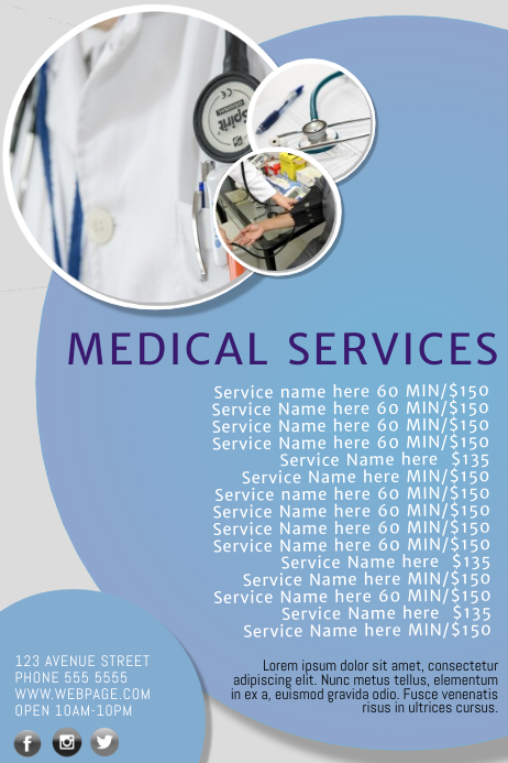medical service price list template postermywall