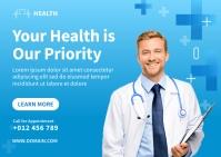 Medical Social Media Template Design Postcard