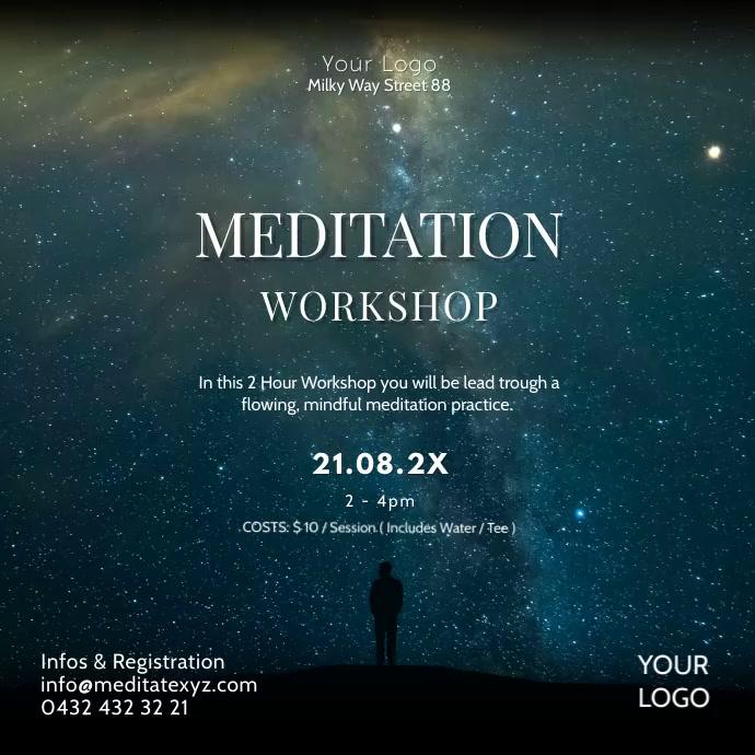 Meditation Workshop Spirituality Soul Stars Quadrado (1:1) template