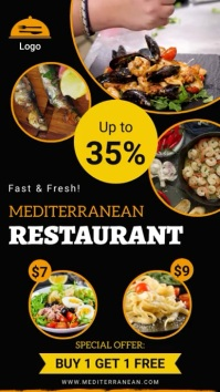 Mediterranean Cuisine Restaurant ad multiple Pantalla Digital (9:16) template