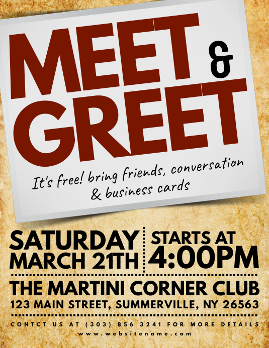 Meet Greet Flyer Template PosterMyWall - Free meet and greet flyer template