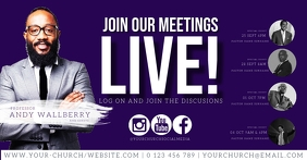 MEETINGS Live online from home template Facebook Shared Image