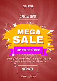 Mega Sale Abstract Flyer A4 template