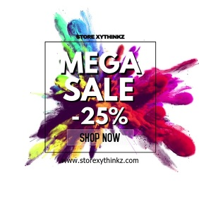 Mega Sale color splash discount promo shop ad