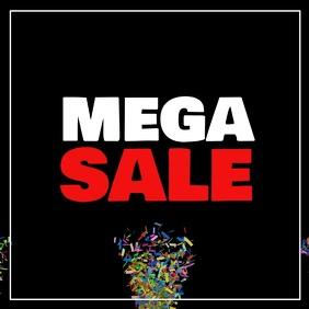 Mega Sale Explosion Video Confetti Promo Advert Square