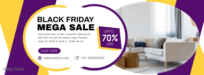 Mega Sale on Black Friday Social Media Advert Fotografia de capa do Facebook template