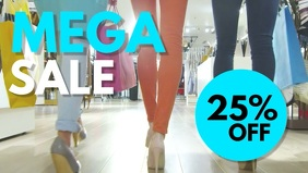 Mega Sale Poster Fashion Store Shopping Women Discount