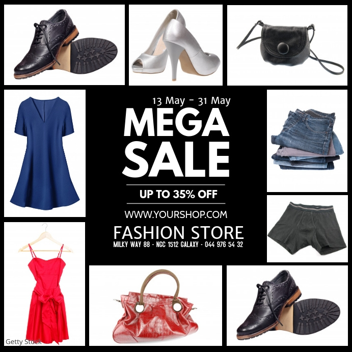 Mega Sale Product sell-out advert promo fashion store retail