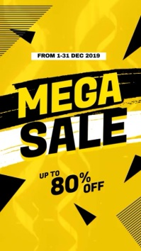 Mega Sale Promotional Video Ecrã digital (9:16) template