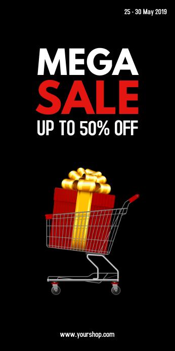 Mega Sale Roll Up Banner Advert Shopping deal template