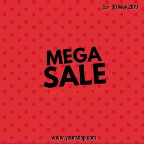 Mega Sale Video Ad Square Explosion Pop Up Flash Red star