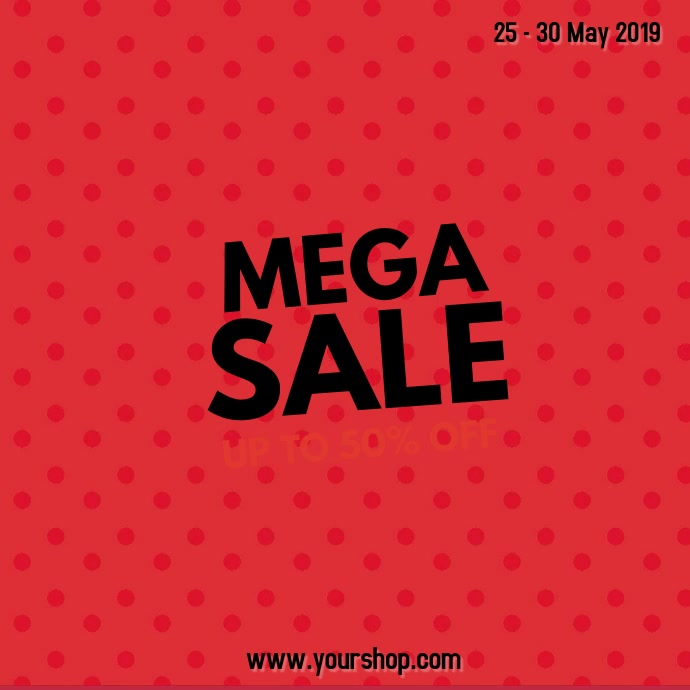 Mega Sale Video Ad Square Explosion Pop Up Flash Red star