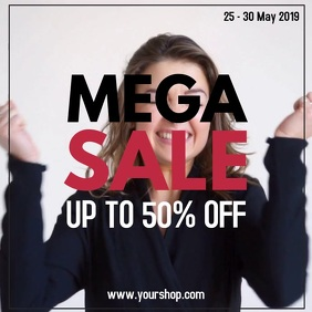 Mega Sale Video Scream Black Offer Ad Promo Social Media