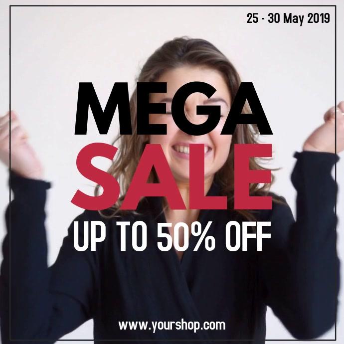 Mega Sale Video Scream Black Offer Ad Promo Social Media