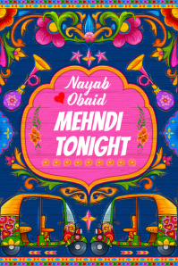 Mehndi Banner Cartel de 4 × 6 pulg. template