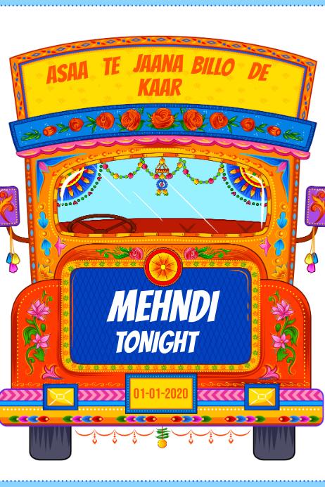 Mehndi Truck Banner Banier 4'×6' template