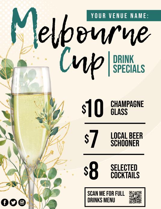 Melbourne cup drink sprcials poster Flyer (US Letter) template