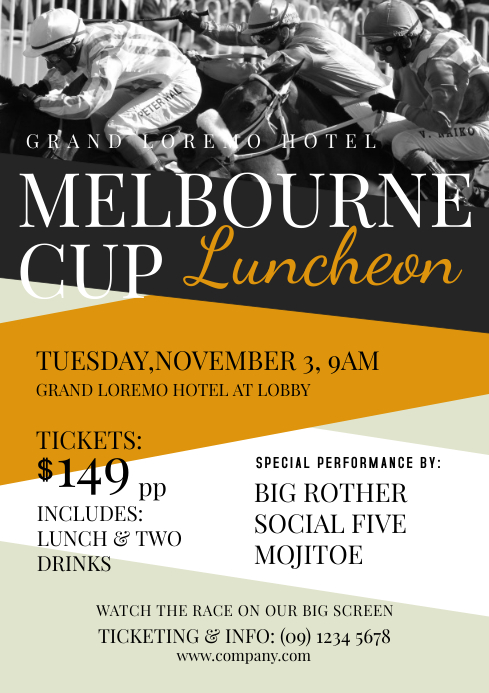 melbourne cup flyer template postermywall