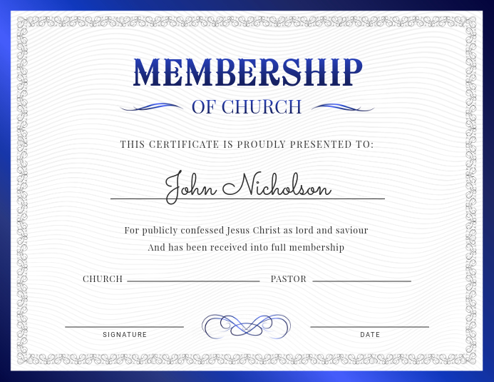 Membership Of Church Certificate Template Postermywall