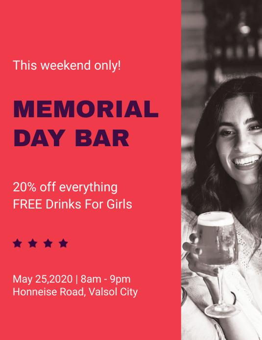 Memorial Day Bar Promo Flyer Template Folheto (US Letter)